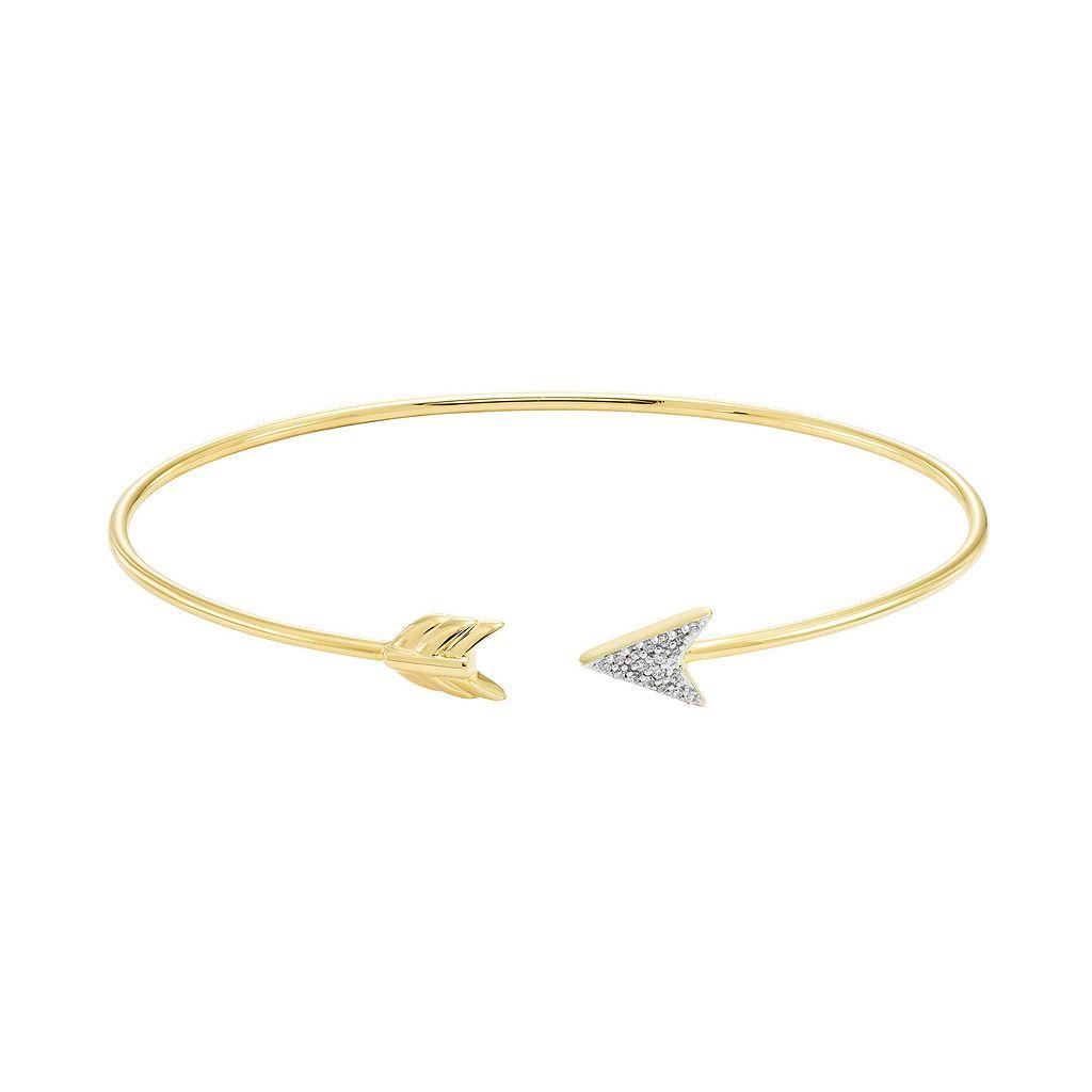 Sterling Silver Diamond Accent Arrow Cuff Bracelet