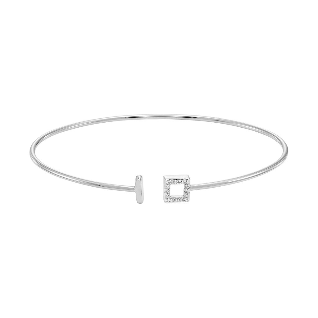 Sterling Silver Diamond Accent Square Cuff Bracelet