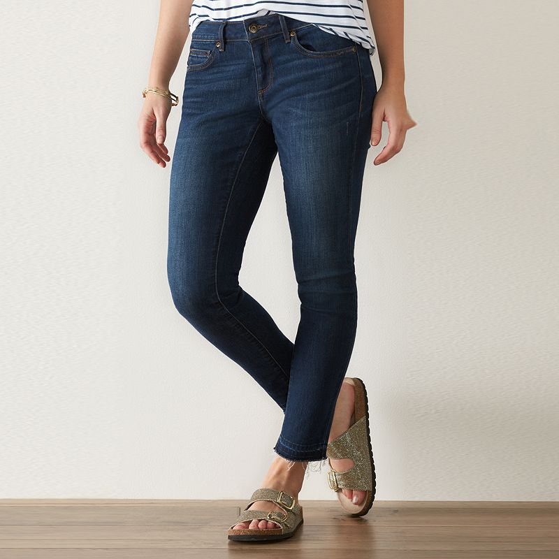 Women's SONOMA Goods for Life™ Release Hem Skinny Jeans, Size: 10 Short, Dark Blue