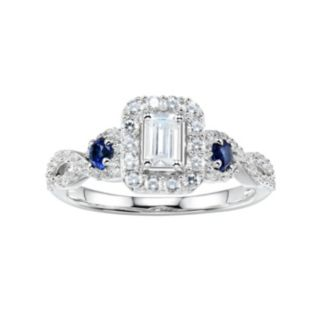 DiamonLuxe 1 5/8 Carat T.W. Simulated Diamond & Lab-Created Sapphire Halo Ring