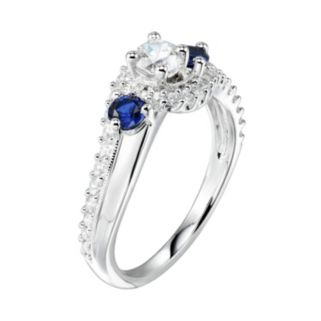 DiamonLuxe1 1/3 Carat T.W. Simulated Diamond & Lab-Created Sapphire 3-Stone Ring