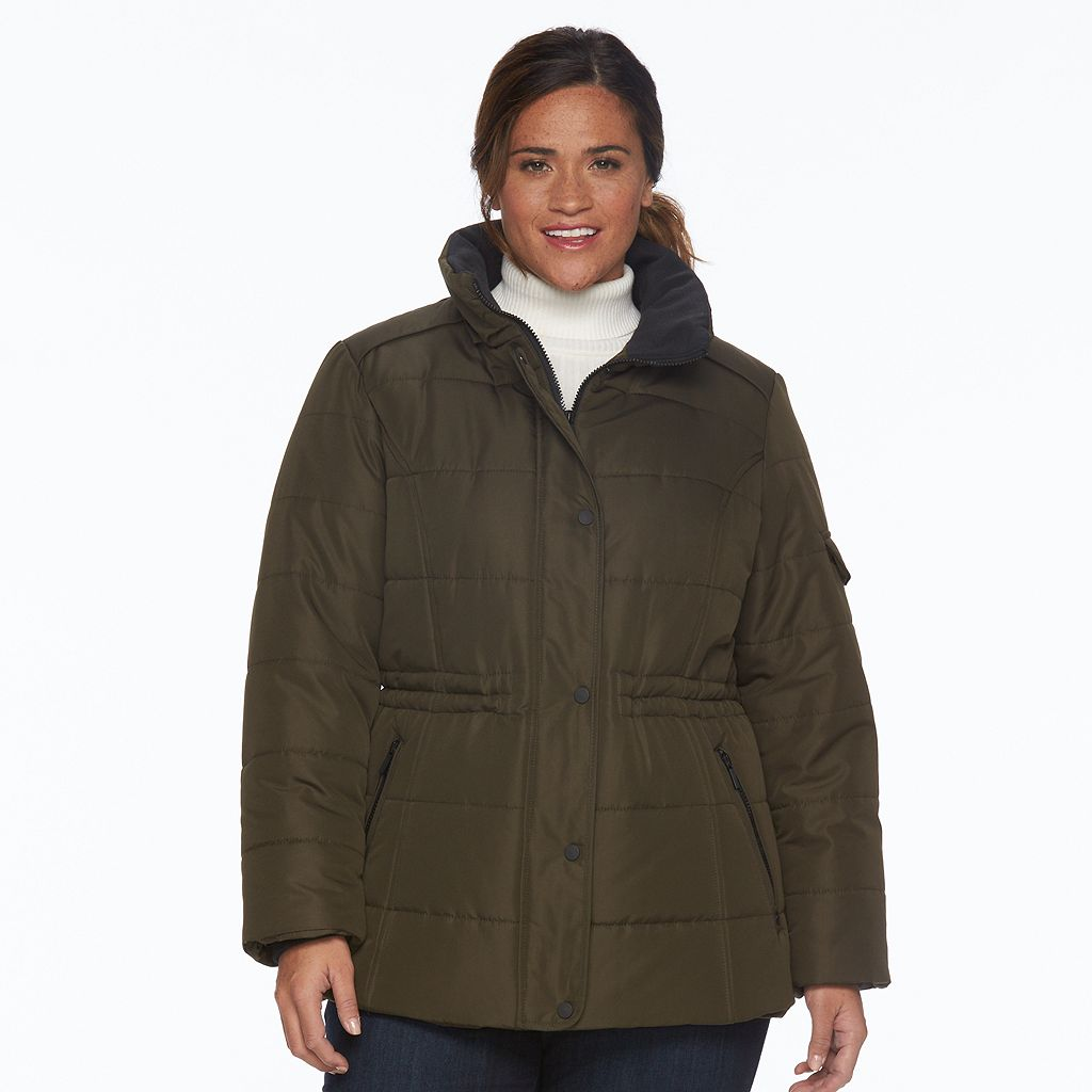 Plus Size d.e.t.a.i.l.s Full-Zip Hooded Puffer Jacket