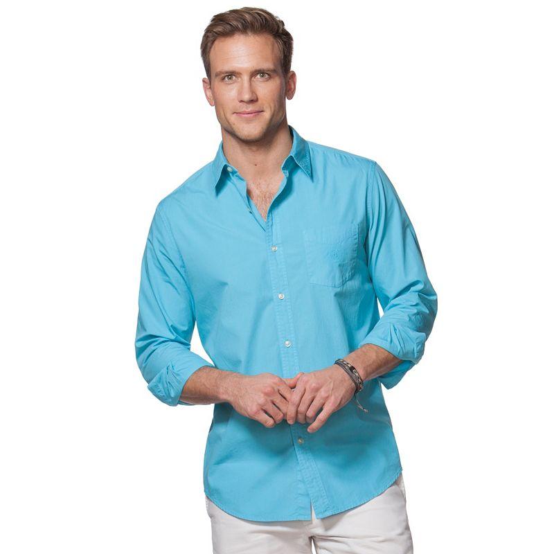Men's Chaps Solid Garment-Dyed Button-Down Shirt
