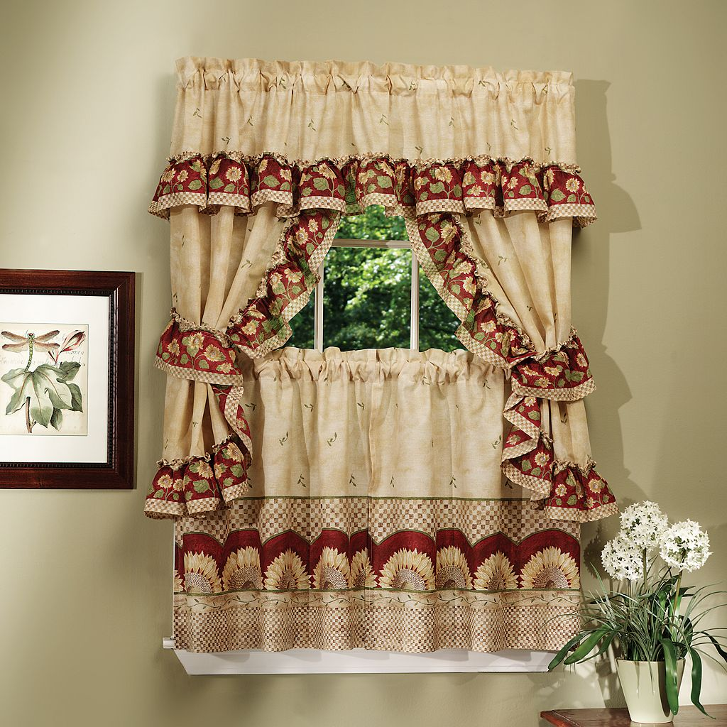 Sunflower 5-piece Swag Tier Cottage Kitchen Window Curtain Set