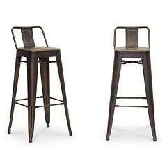 Baxton Studio French Industrial Modern Bar Stool 2-piece Set