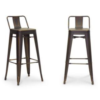 Baxton Studio French Industrial Modern Bar Stool 2-piece Set