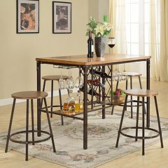 Baxton Studio Vintner Pub Table & Stool 5 pc Set