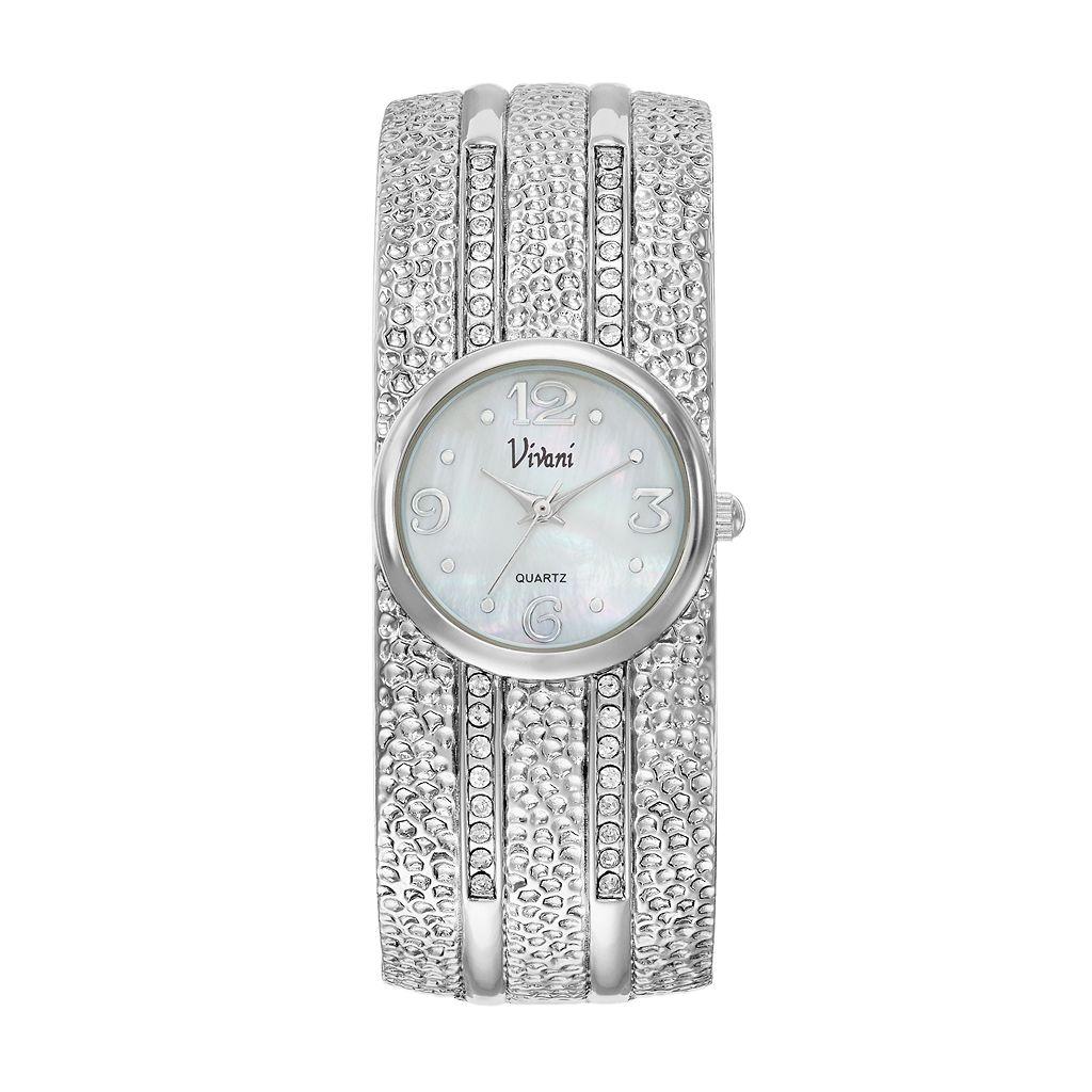 Vivani Women's Crystal Dimpled Bangle Watch