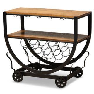 Baxton Studio Triesta Wheeled Wine Rack Cart