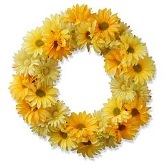 National Tree Company 19' Garden Accents Artificial Yellow Cosmos Floral Wreath