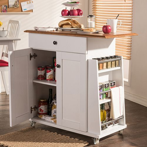 Baxton Studio Balmore Kitchen Cart Trolley Cabinet