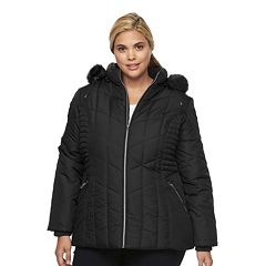 Plus Size d.e.t.a.i.l.s Hooded Smocked Puffer Jacket