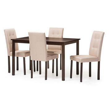Baxton Studio Andrew Dining Table & Chair 5-piece Set