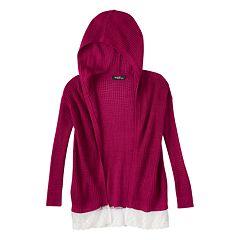 Girls 7-16 Sugar Rush Scalloped Hooded Cardigan