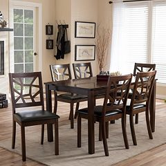 Baxton Studio Mozaika Dining Table Chair 7 Piece Set