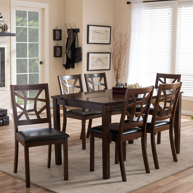 Baxton Studio Mozaika Dining Table U0026 Chair 7 Piece Set
