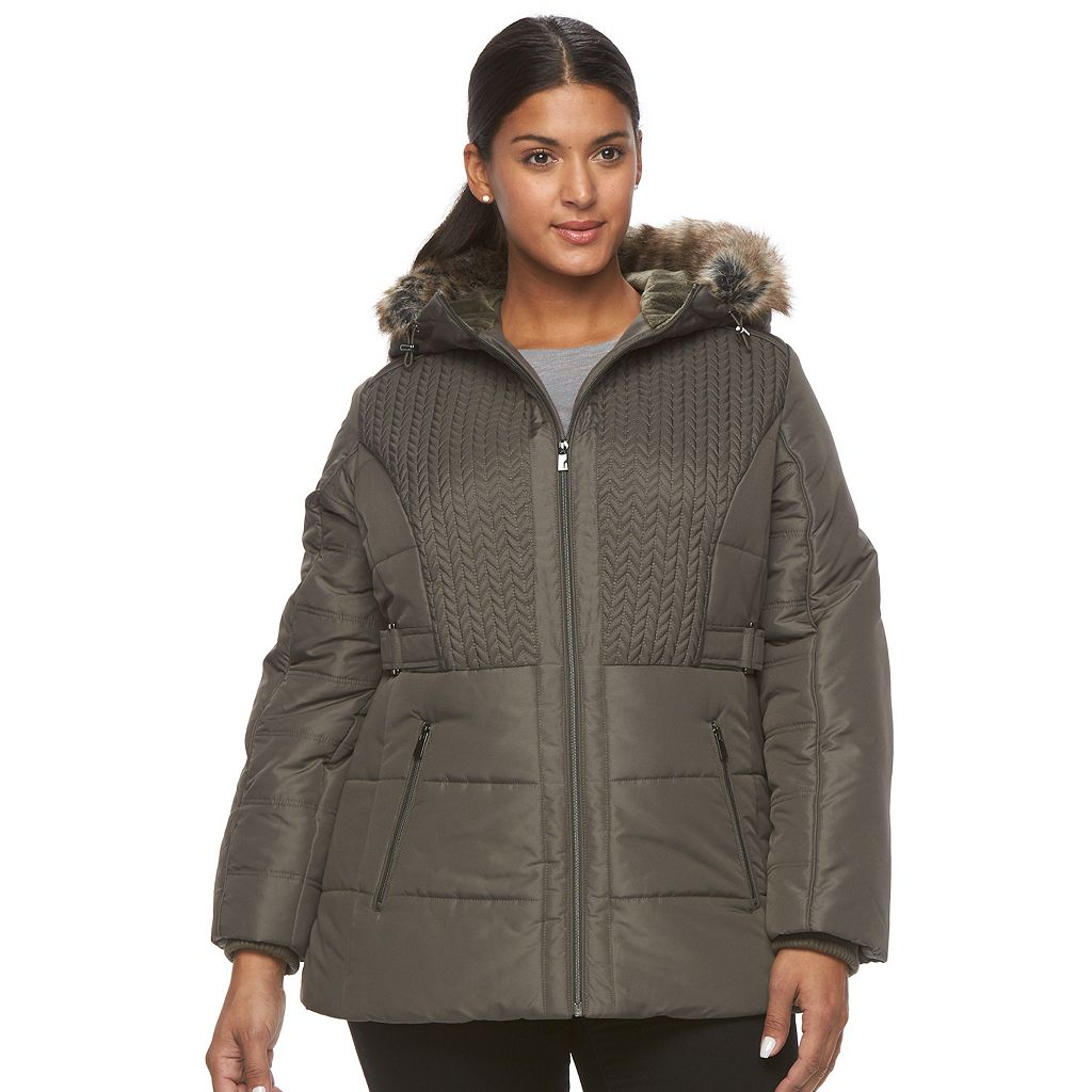 Plus Size d.e.t.a.i.l.s Hooded Chevron-Stitch Puffer Jacket