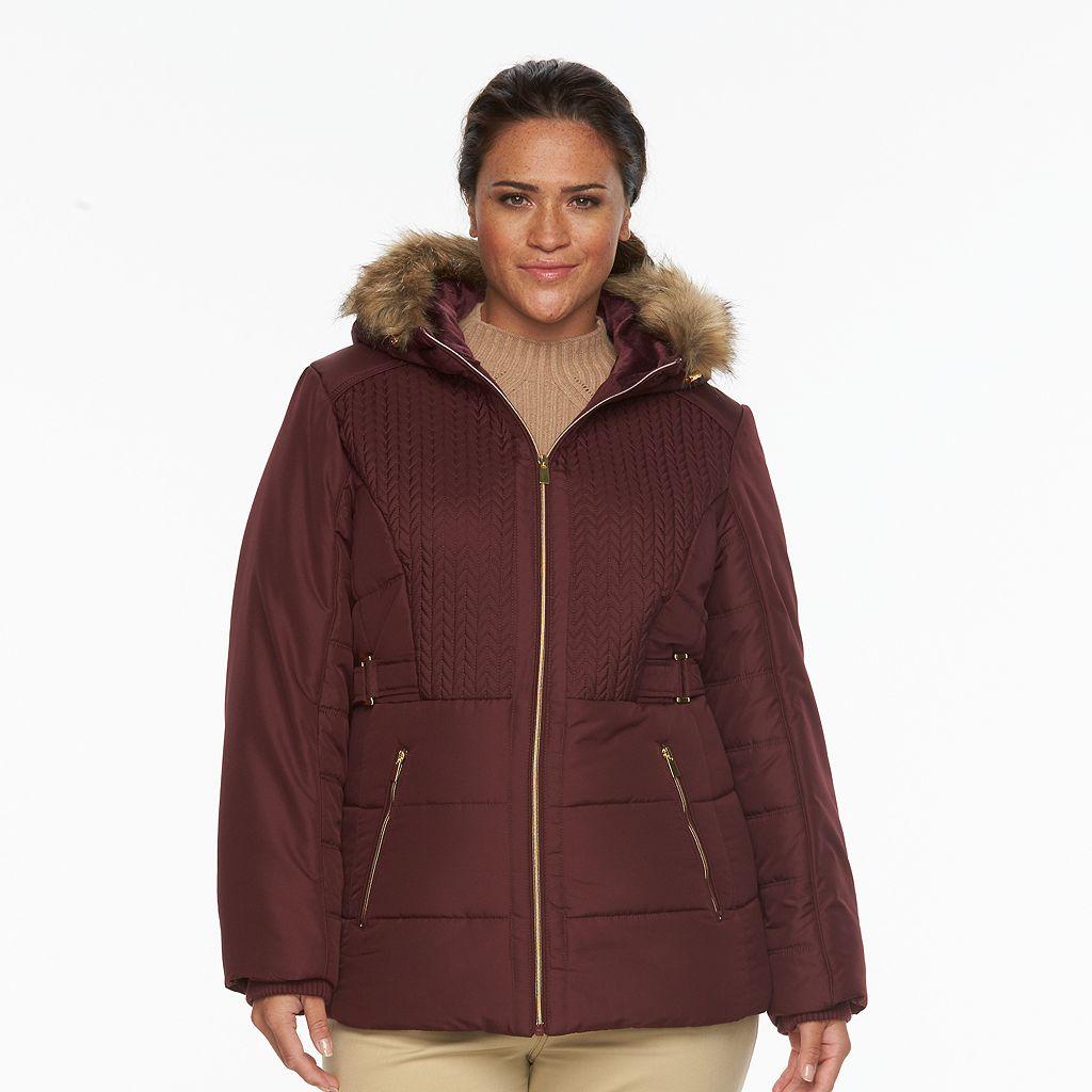 Plus Size d.e.t.a.i.l.s Hooded Chevron-Stitch Puffer Jacket