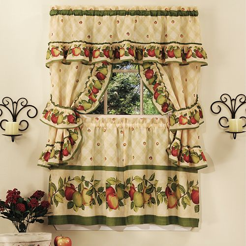 Apple Orchard 5-piece Swag Tier Cottage Kitchen Window Curtain Set