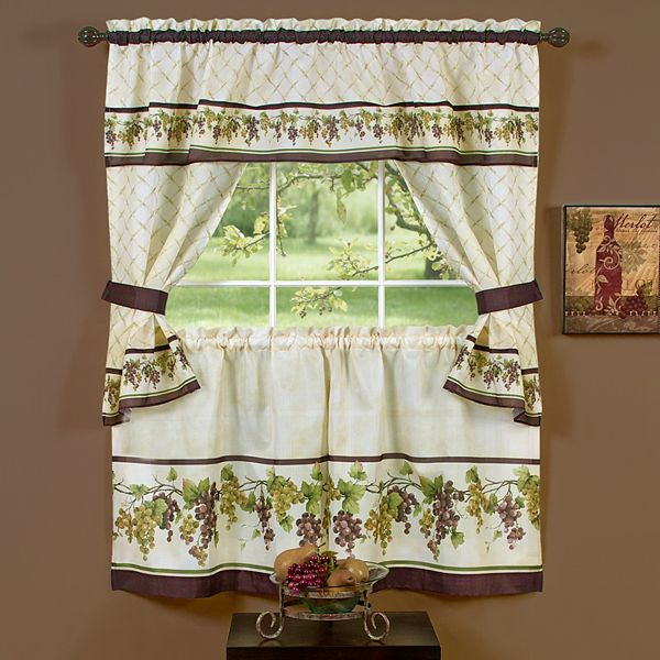Tuscany 5 Piece Swag Tier Cottage, Tuscany Kitchen Curtains