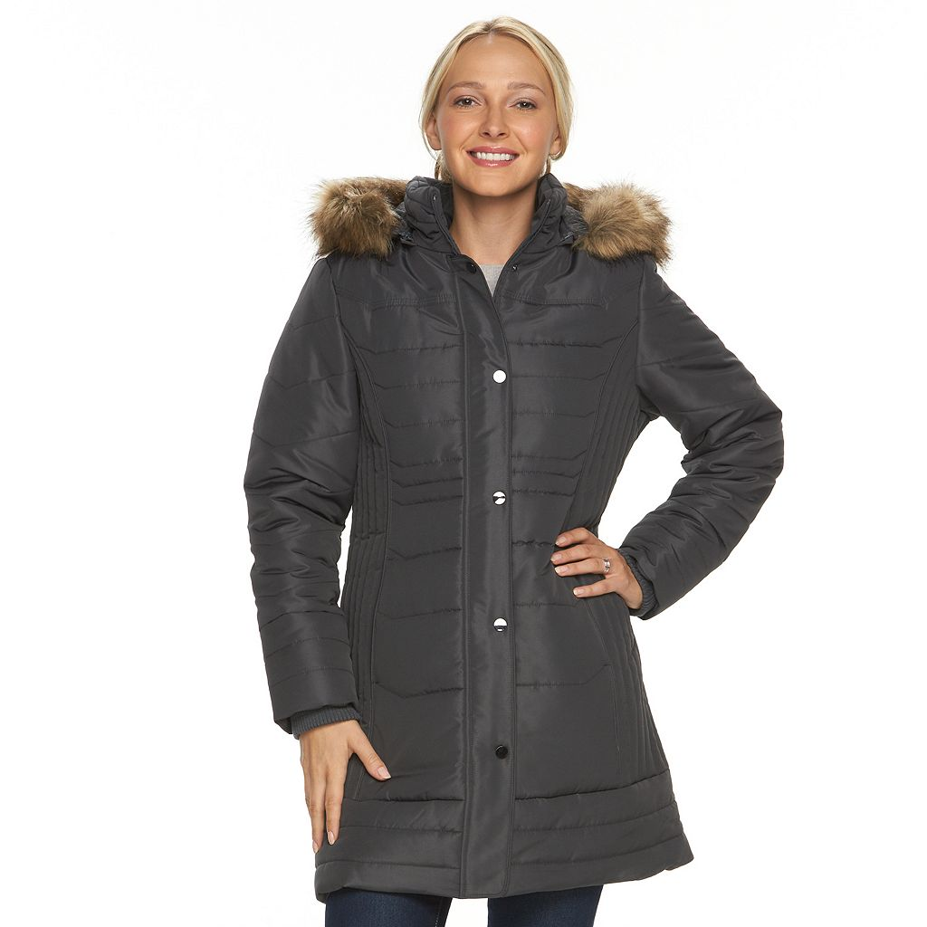 Women's d.e.t.a.i.l.s Hooded Solid Quilted Walker Jacket
