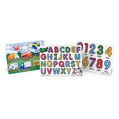 Melissa & Doug Peg Puzzle Bundle – Alphabet, Numbers & Vehicles