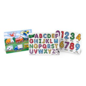 Melissa & Doug Peg Puzzle Bundle – Alphabet, Numbers & Vehicles