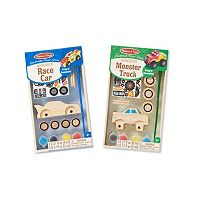 Melissa & Doug Decorate-Your-Own Race Car & Monster Truck Bundle