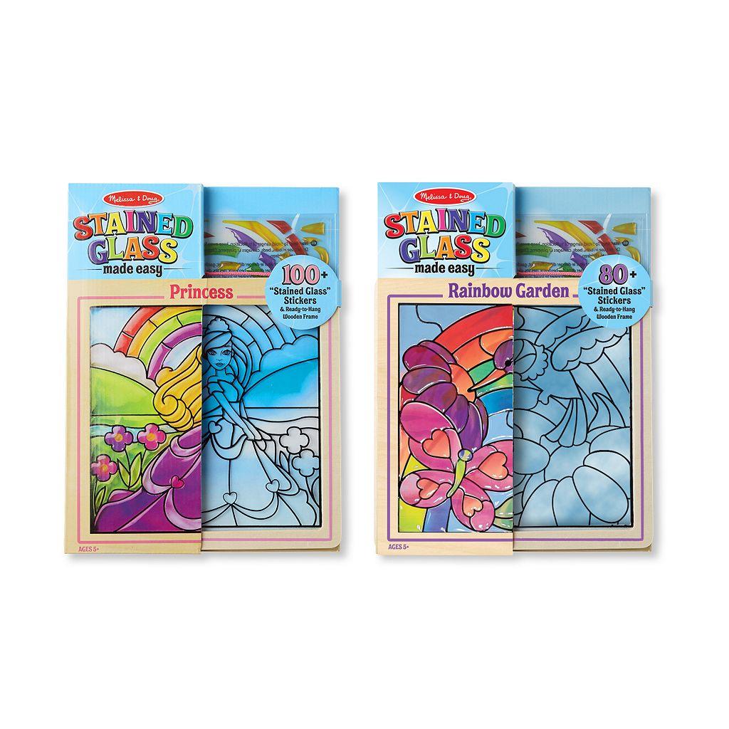 Melissa & Doug Princess & Rainbow Garden Stained Glass Made Easy Bundle