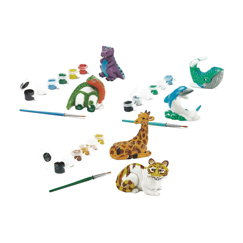 Melissa & Doug Decorate Your Own Sea Life, Zoo Animals & Dinosaurs Figurine Set