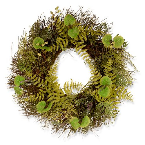 "National Tree Company 24"" Garden Accents Artificial Fern and Lavender Wreath"