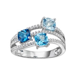 Sterling Silver Blue Topaz & Lab-Created White Sapphire Ring