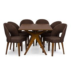 Baxton Studio Lucas Dining Table & Chair 7-piece Set