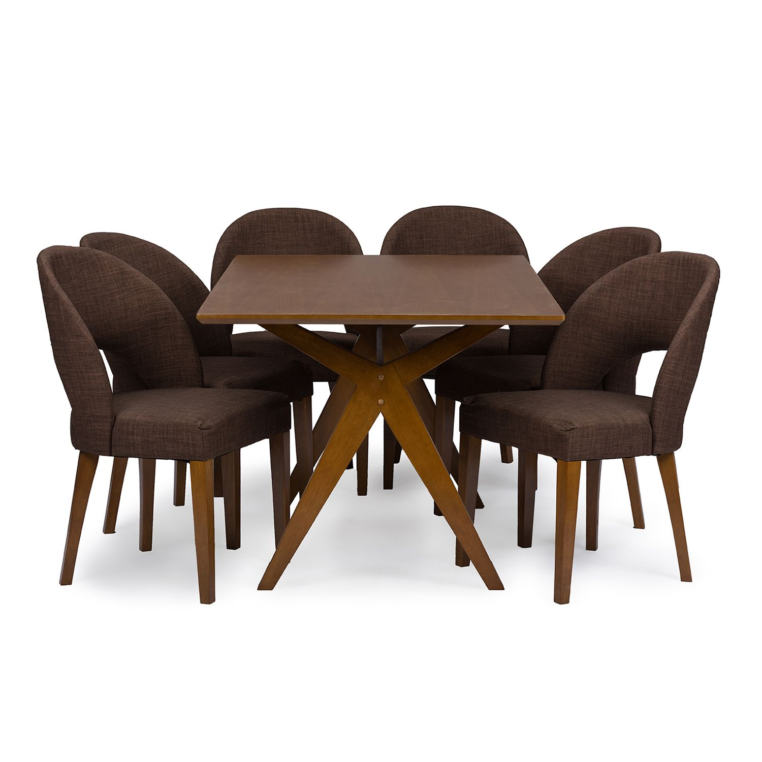 Baxton Studio Lucas Dining Table U0026 Chair 7 Piece Set