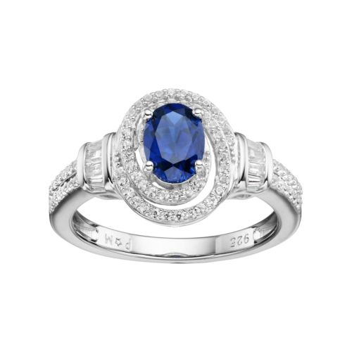 Sterling Silver Lab-Created Blue & White Sapphire Tiered Oval Halo Ring