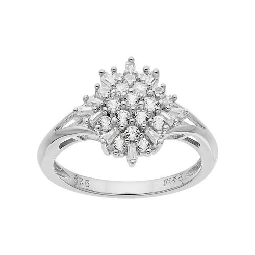 Sterling Silver Lab-Created White Sapphire Cluster Ring