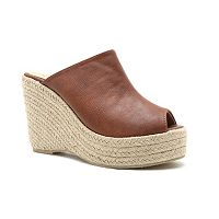 Qupid Deb Women's Slip-On Wedge Sandals