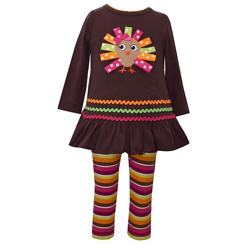 f9f0d072d3bd8 Toddler Girl Bonnie Jean Turkey Applique Dress & Striped Leggings Set