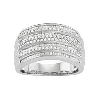 Sterling Silver 1 Carat T.W. Diamond Multirow Ring