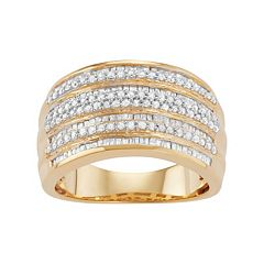 Sterling Silver 1 Carat T.W. Diamond Multirow Ring