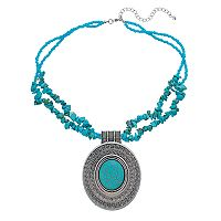 Simulated Turquoise Double Strand Oval Pendant Necklace