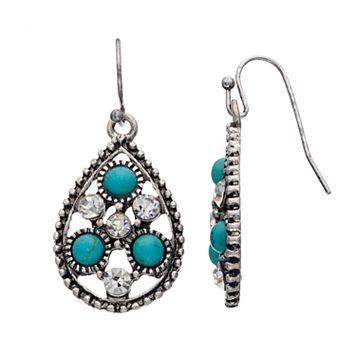 Simulated Turquoise Nickel Free Openwork Teardrop Earrings