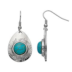 Simulated Turquoise Textured Nickel Free Teardrop Earrings