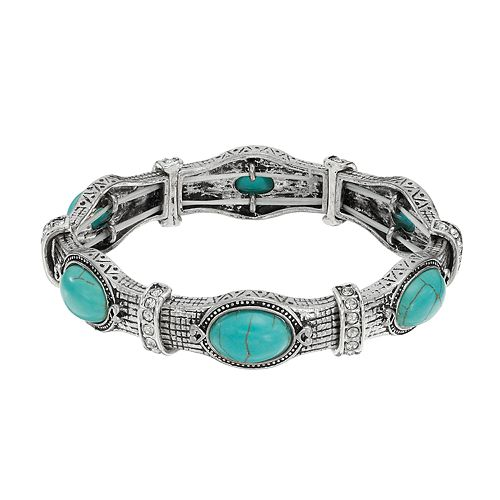 Simulated Turquoise Antiqued Stretch Bracelet