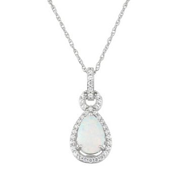 Sterling Silver Lab-Created Opal & Lab-Created White Sapphire Teardrop Pendant