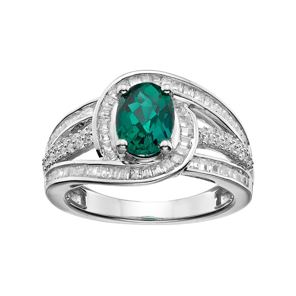 Sterling Silver Lab-Created Emerald & White Sapphire Swirl Ring