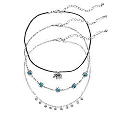 Mudd® Flower, Disc & Elephant Charm Choker Necklace Set