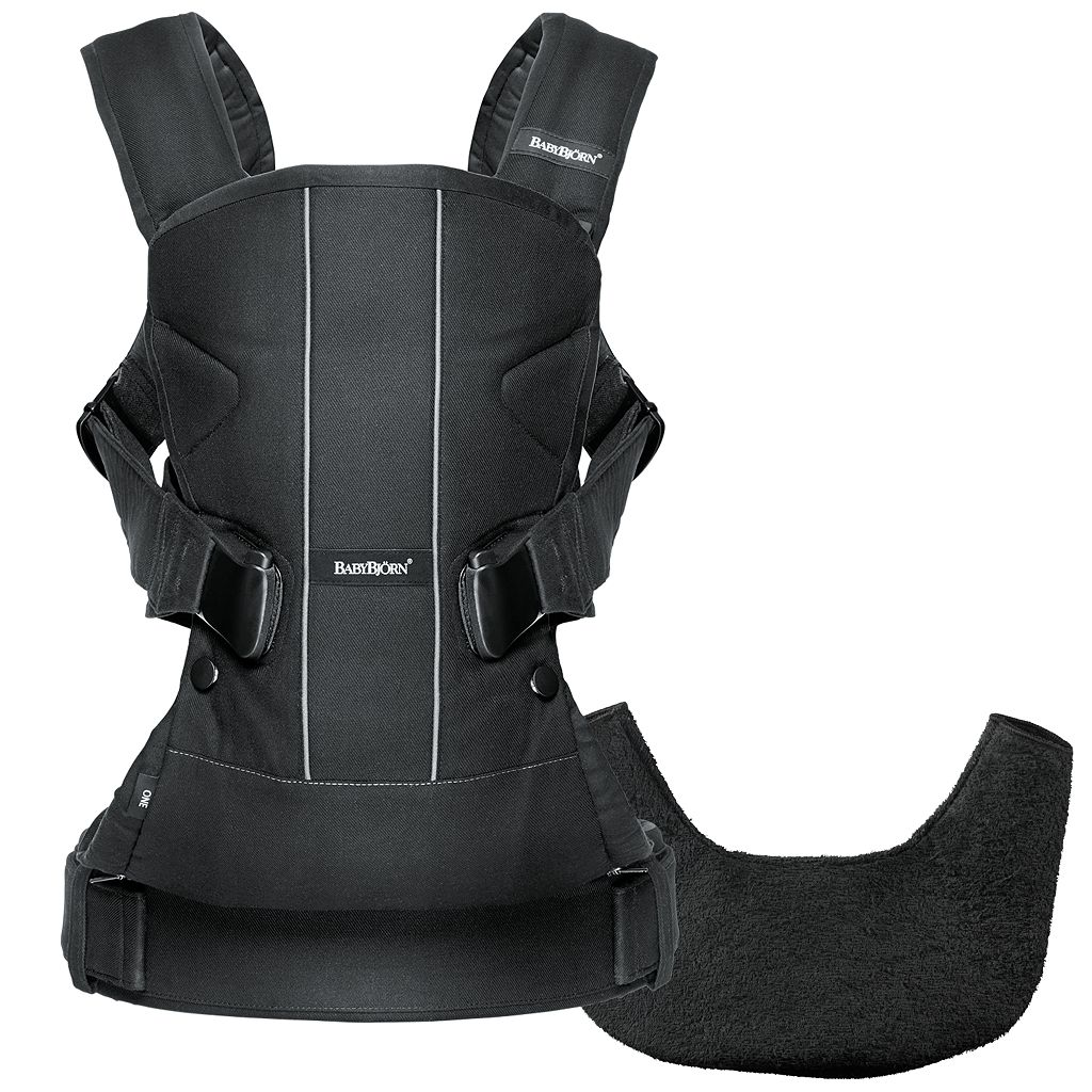 BabyBjorn Black Baby Carrier One with Bib