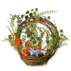 National Tree Company 16' Artificial Floral Spring Ring Basket