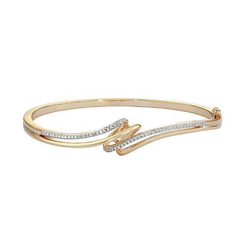 18k Gold Over Silver Diamond Accent Bypass Bangle Bracelet